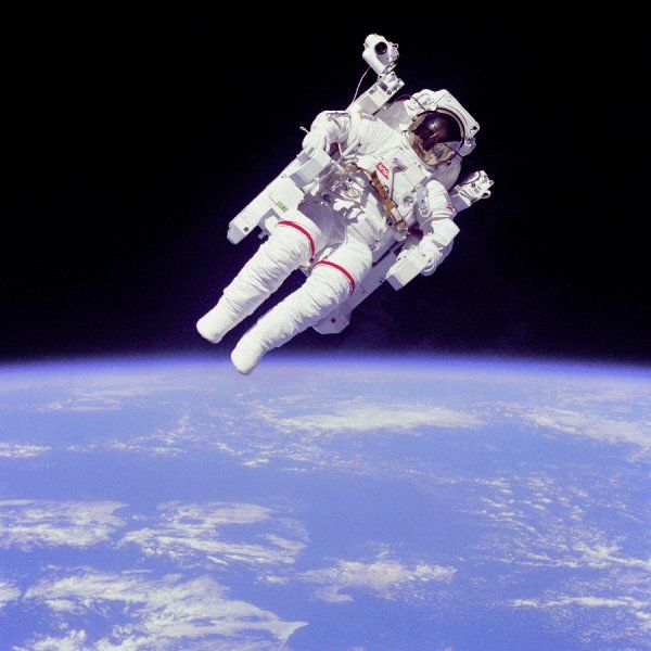 Mission Specialist Bruce McCandless II ventured further away from the confines and safety of his ship than any previous astronaut ever has. This space first was made possible by the Manned Manuevering Unit or MMU, a nitrogen jet propelled backpack