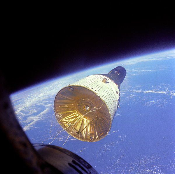 NASA successfully completed its first rendezvous mission with two Gemini spacecraft-Gemini VII and Gemini VI-in December 1965. This photograph, taken by Gemini VII crewmembers Frank Lovell and Frank Borman, shows Gemini VI in orbit 160 miles