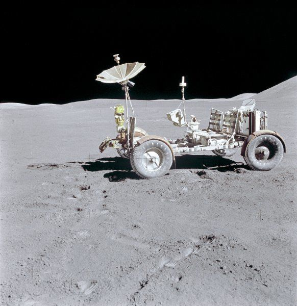 The Lunar Roving Vehicle is photographed alone against the lunar background during the Apollo 15 lunar surface extravehicular activity (EVA) at the Hadley-Apennine landing site