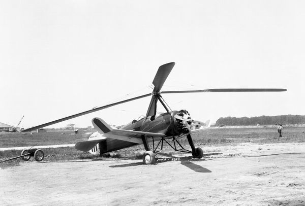 This Pitcairn PAA-1 autogiro was flown at Langley for the NACA investigation of an experimental cantalevered three-bladed rotor