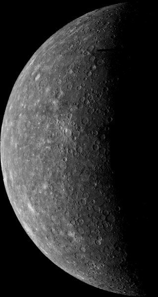 Mariner 10's first image of Mercury acquired on March 24, 1974