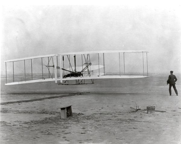 On December 17, 1903, at 10:30 am at Kitty Hawk, North Carolina, this airplane arose for a few seconds to make the first powered, heavier-than-air controlled flight in history. The first flight lasted 12 seconds and flew a distance of 120 feet