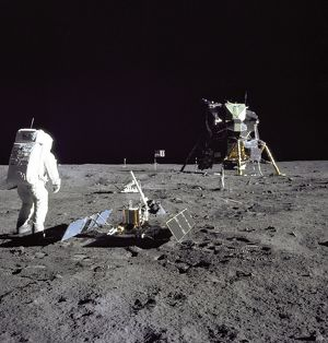 Aldrin Looks Back at Tranquility Base